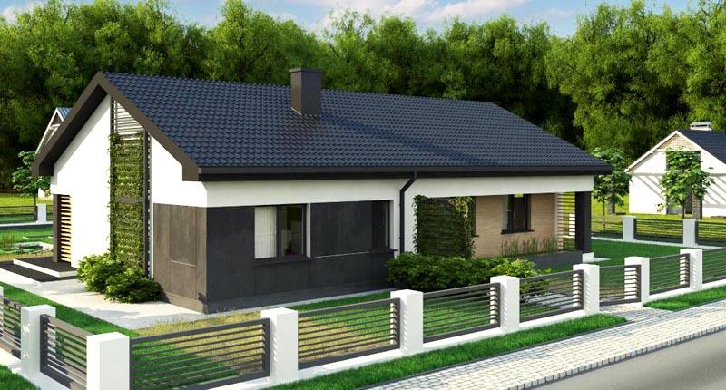 Одноэтажный дом из пеноблоков в английском стиле
