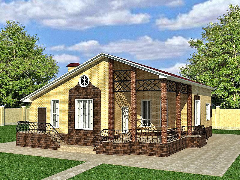 Индивидуальный проект одноэтажного дома из кирпича
