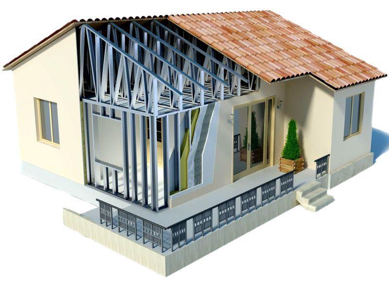 Металлокаркасная схема строительства