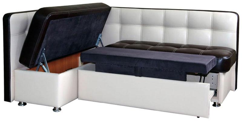 Угловой диван с системой трансформации «Дельфин» и ящиком для хранения