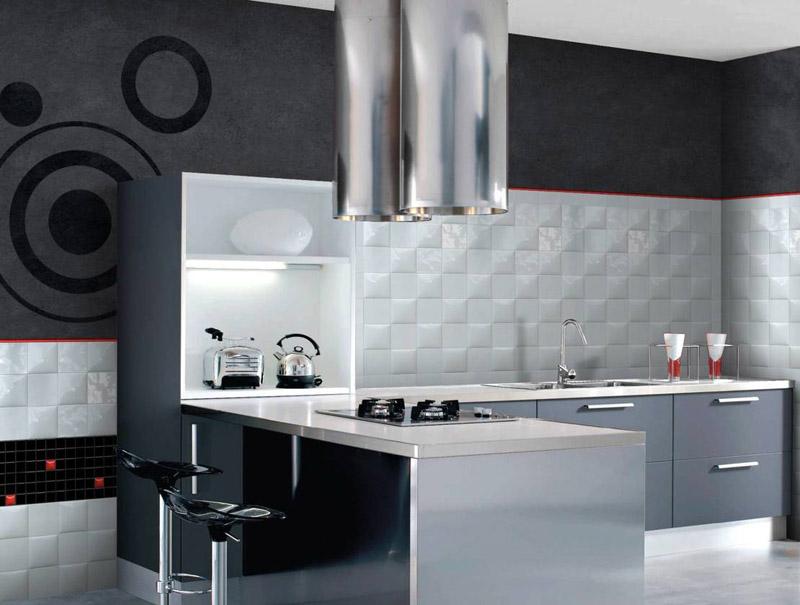 Белая плитка рельефного узора прекрасно подойдёт к стилю хай-тек