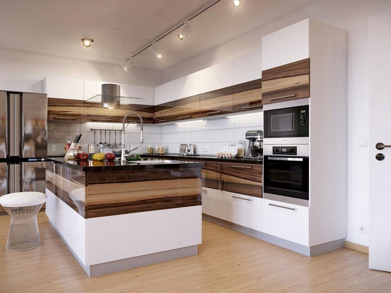 Форма комнаты для кухни с островом должна быть приближена к квадратной