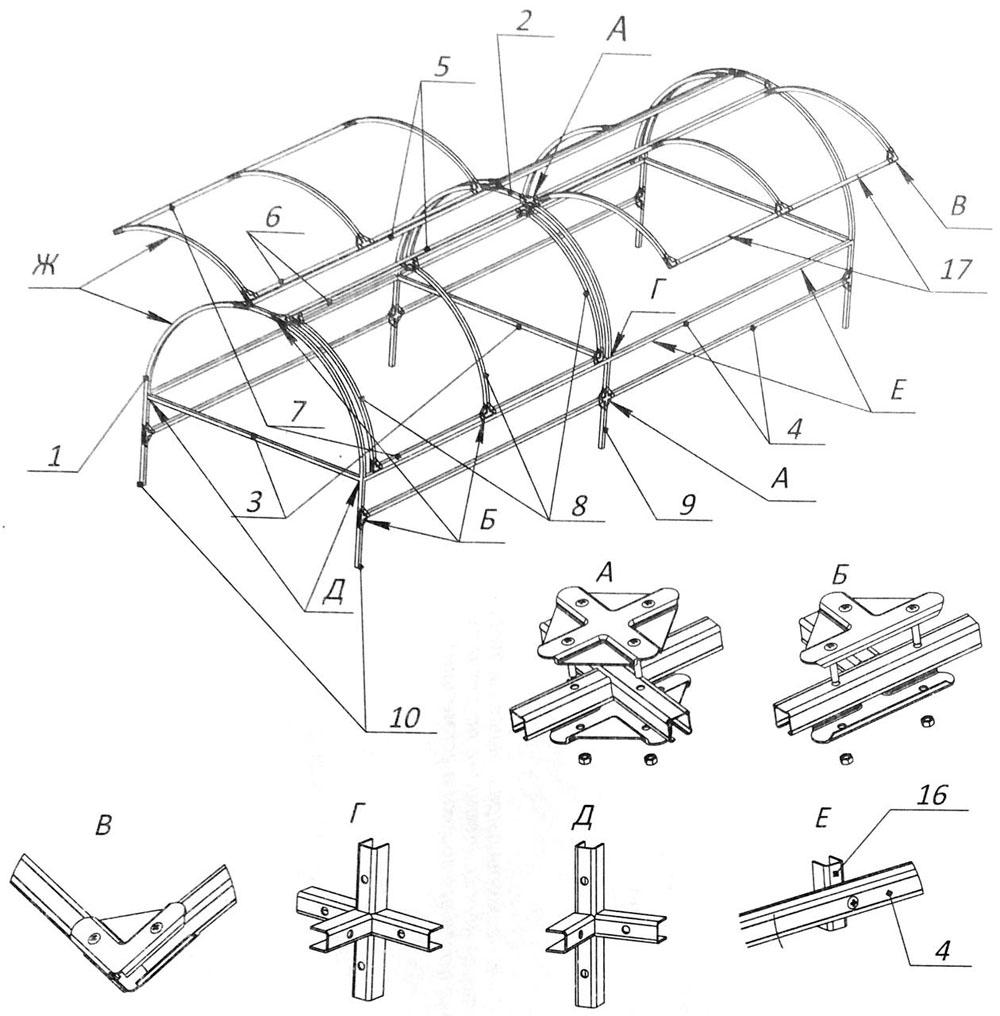 Элементы крепления конструкции