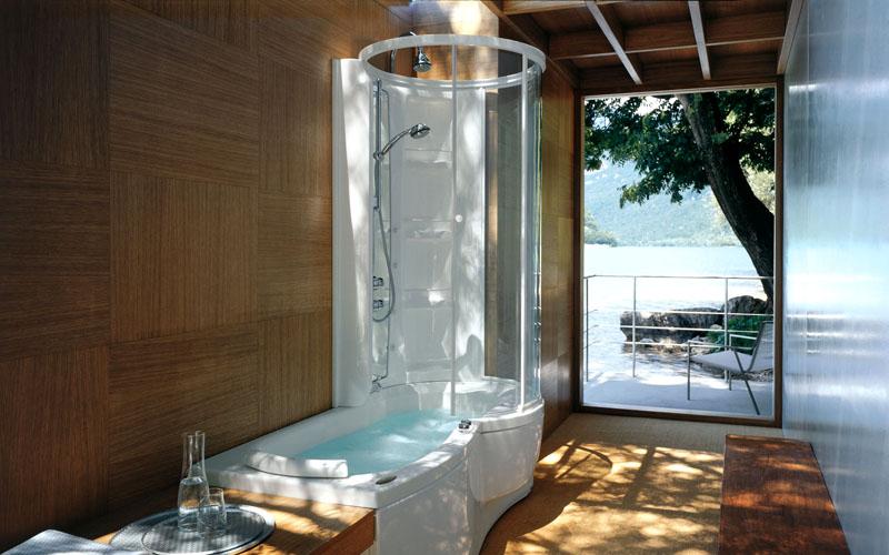 Для половинных моделей чаще всего используется боковой душ