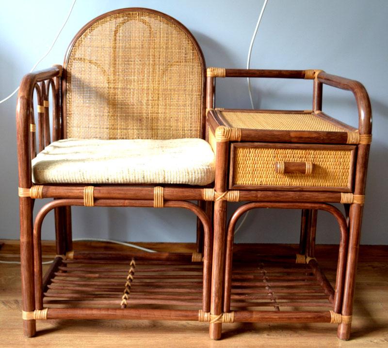 Модель с мягким сиденьем и спинкой из ротанга
