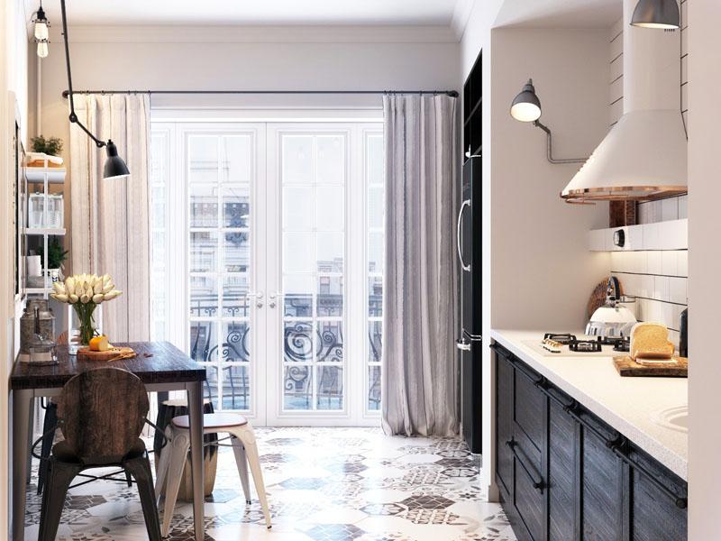 Окна в пол – максимальное наполнение кухни светом