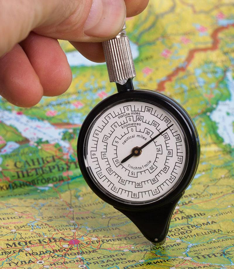 Курвиметр позволяет составить оптимальный туристический маршрут с учётом рельефа местности