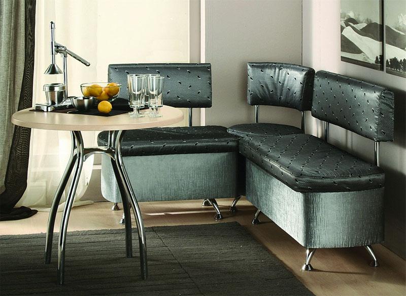 Интересный дизайн углового небольшого дивана со спальным местом на полиуретановом наполнителе