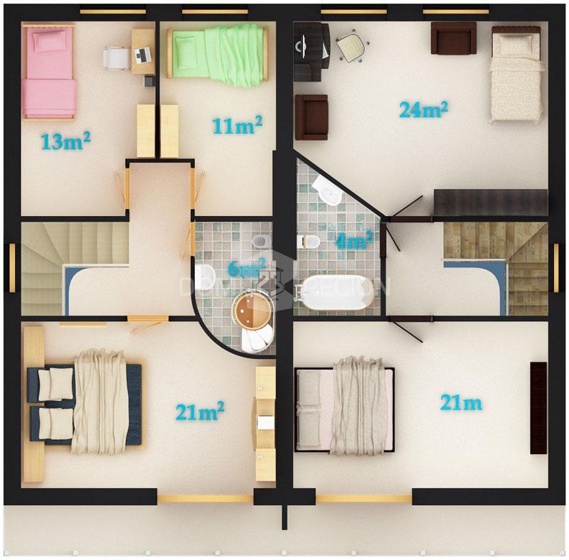 Как построить многокомнатный таунхаус − планировка на пять жилых комнат