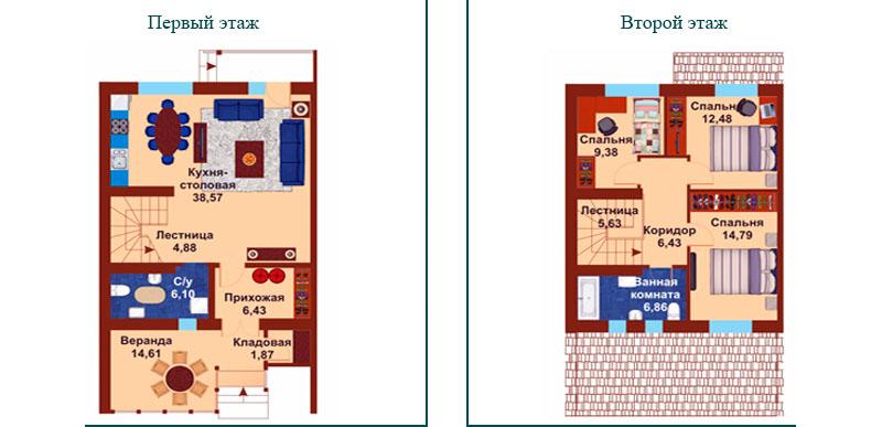 Планировка с примерной расстановкой мебели