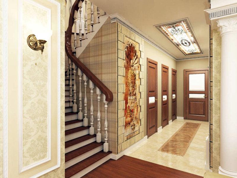 Фото внутренней красивой и компактной лестницы в таунхаусе