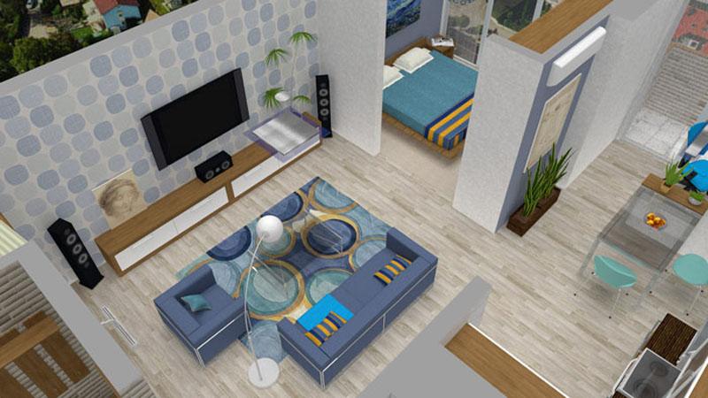 Объёмное изображение дизайн-проекта в программе «Roomtodo»