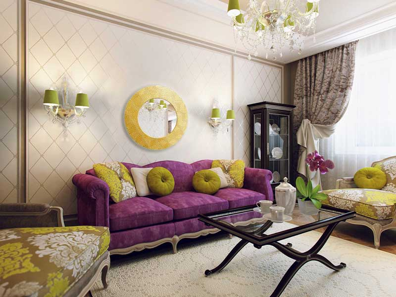 В качестве декора выступают яркие подушки и красивое зеркало