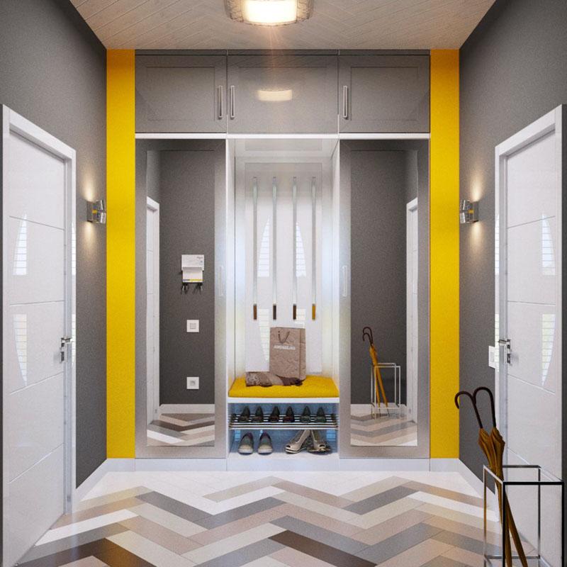 Яркий жёлтый цвет придаёт дополнительный комфорт комнате, выполненной в пастельной гамме