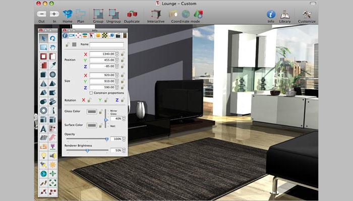 Программа поможет расставить мебель, освещение и технику