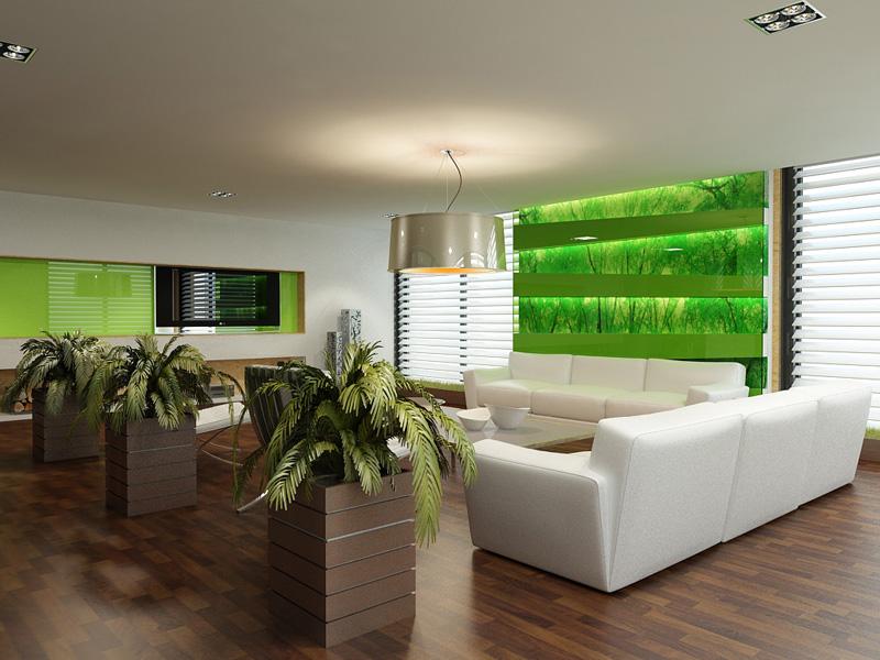 Обязательно наличие растений в оформлении гостиной