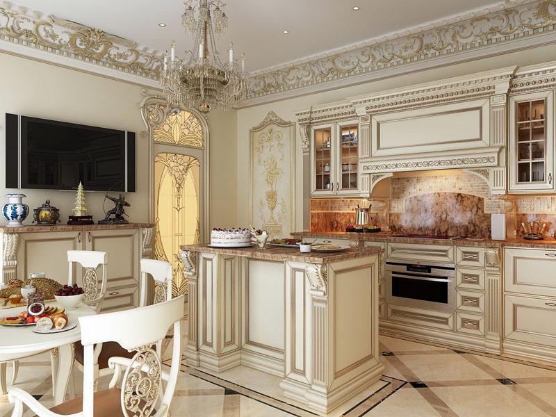 Натуральные материалы придают кухне изысканность и шарм