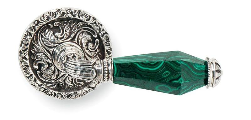 Итальянская дверная ручка для межкомнатных дверей из малахита и серебра