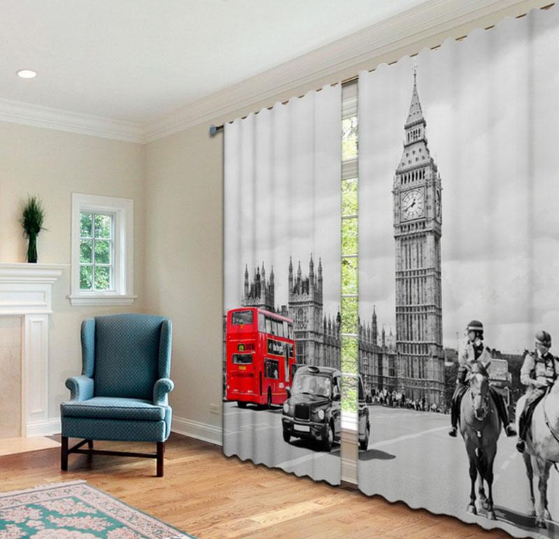 Для спальни в стиле лофт подойдут шторы с фотопечатью городской тематики