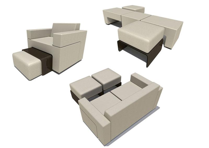 Модульные модели состоят из нескольких предметов, их можно расположить в виде диванчика со спальным местом или использовать пуфики для сидения