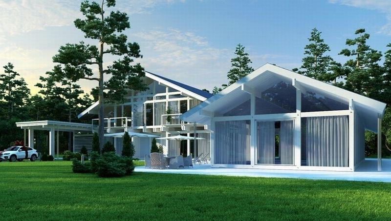 Дом и пристройка к нему выполнены в стиле «стеклянный фахверк»