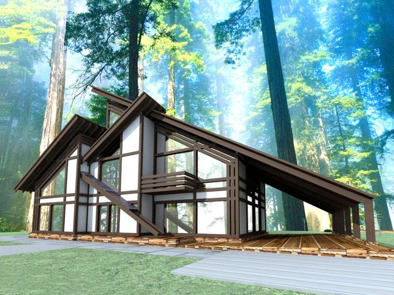 Дом, выполненный в стиле фахверк с использованием большой площади остекления