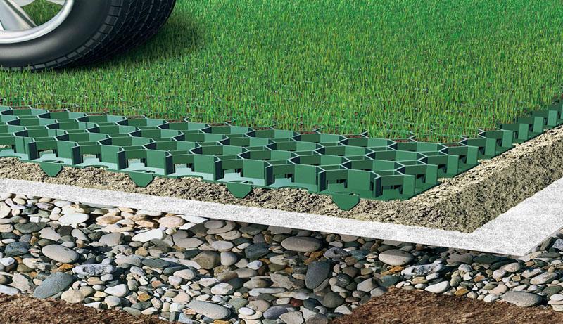 Использование изделий при монтаже покрытия парковки, позволяет обеспечить дренаж и сохранность наружного покрытия