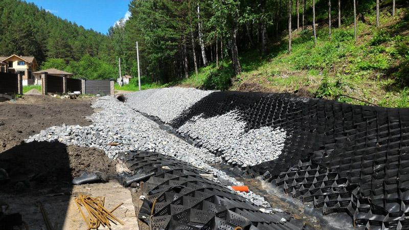 Вариант использования при укреплении берегов сточных канав, русла ручьев