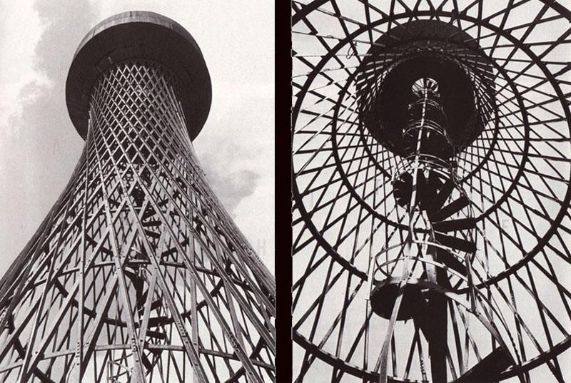Башня в Полибино, один из проектов Шухова В.Г. (1896 г)