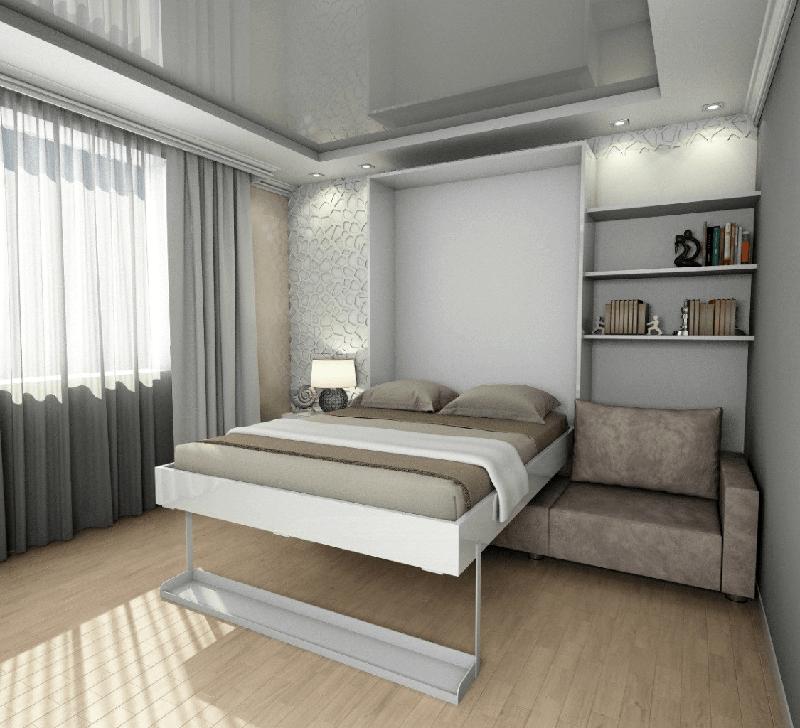 Подъемный механизм легко убирает платформу кровати в вертикальный пенал и площадь комнаты освобождается для дневных занятий
