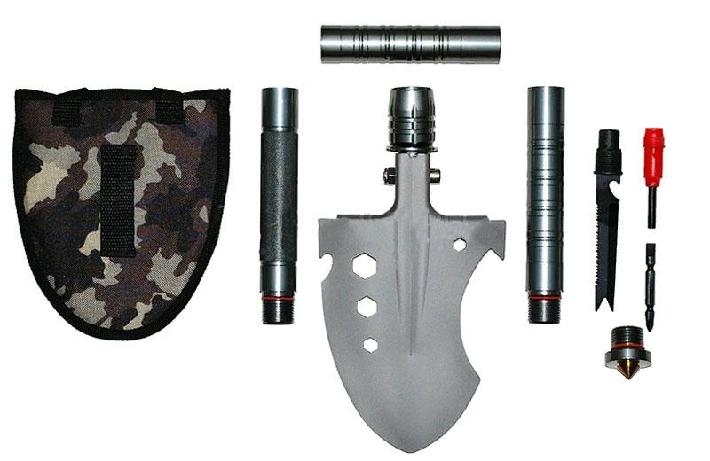 Черенок лопаты состоит из трёх взаимозаменяемых друга рукоятей, внутри которых скрываются полезные инструменты