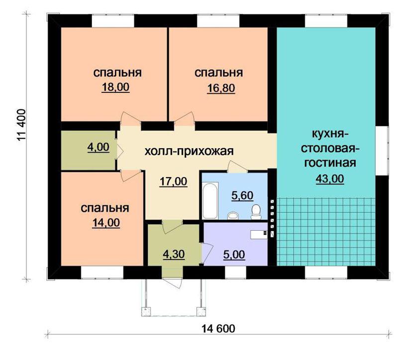 Идеальное жилище для большой семьи: проекты одноэтажного дома с тремя спальнями