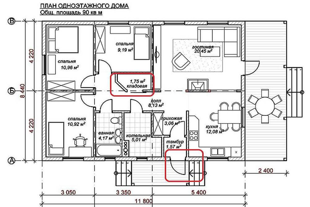 Проект блочного одноэтажного дома 10×12 с тремя спальнями