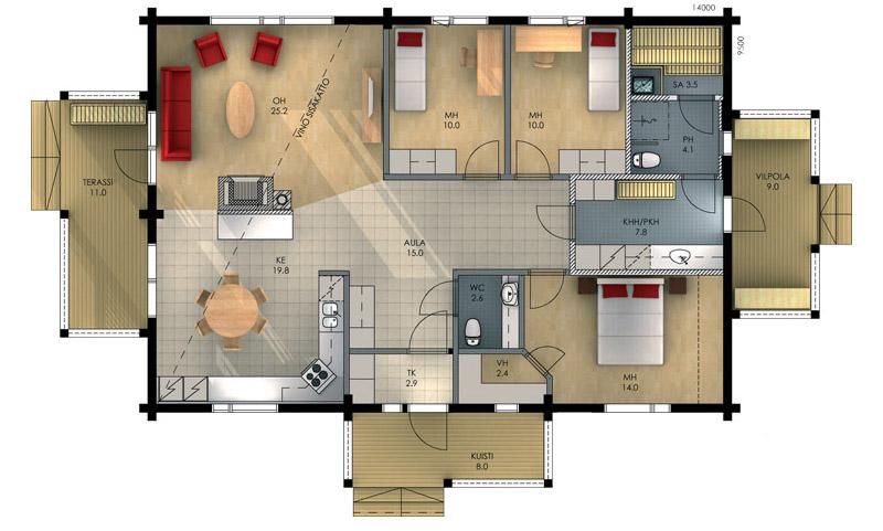 Проекты частного дома с двумя комнатами фото