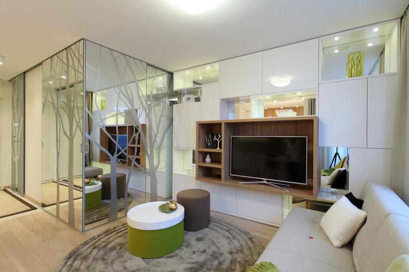 Интерьер современной квартиры для студента площадью 18 м²