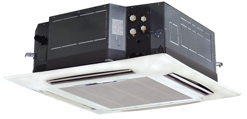 Стандартная комплектация кассетных фанкойлов– вентиляторы с мягким переключением производительности. В некоторых имеются диффузоры специальной конструкции, которые могут создать направленный поток воздуха