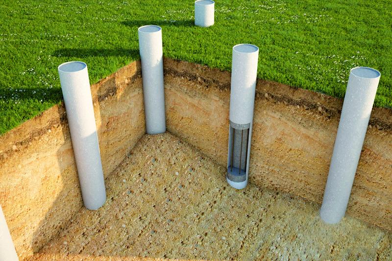Именно так выполняется установка асбестовых труб для свайного фундамента
