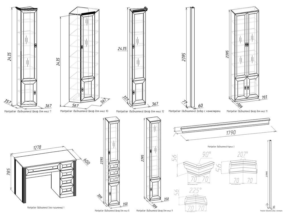 Примерные размеры мебели для домашней библиотеки