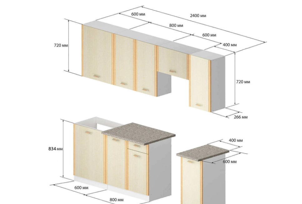 Примерные размеры модулей для кухонного гарнитура