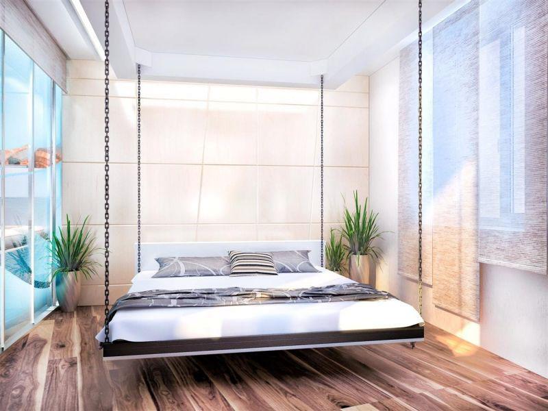 Интересным дизайнерским решением может стать подвесная кровать, выполненная согласно европейским стандартам