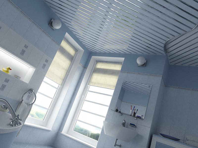 Реечный потолок можно укладывать на многоуровневое основание