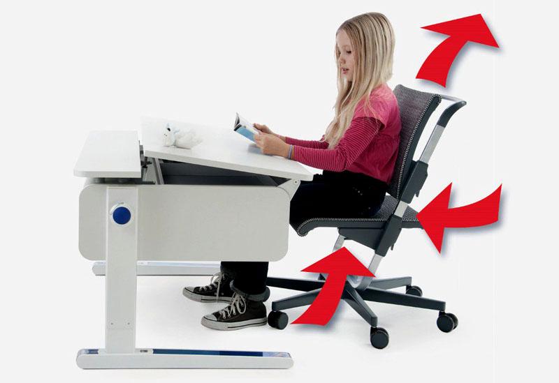 Регулировка высоты сиденья и спинки не только удобна, но и помогает сохранить зрение ребенка