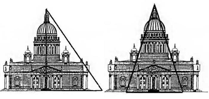 На фото чётко прослеживаются золотой треугольник и прямоугольник в Исаакиевском соборе