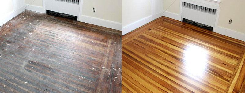 Реставрация деревянного пола – это намного экологичнее, чем укладка линолеума или ламината