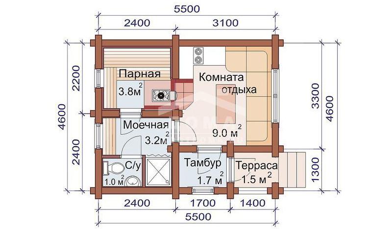 Компоновка основных помещений одноэтажной бани