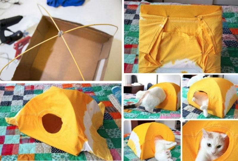 Пошаговое изготовление палатки для котёнка
