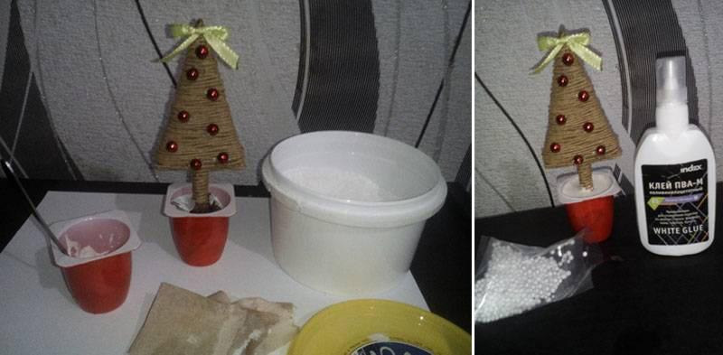Можно для устойчивости взять 2 стаканчика, дополнительно их следует также украсить ленточками
