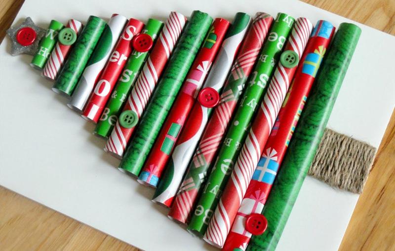 Верхушку и веточки ёлочки из бумажных трубочек украсить красивыми бусинами, пуговкой или звездочкой