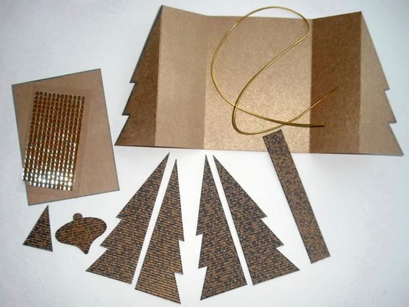 Подготовка заготовок для открытки-ёлочки