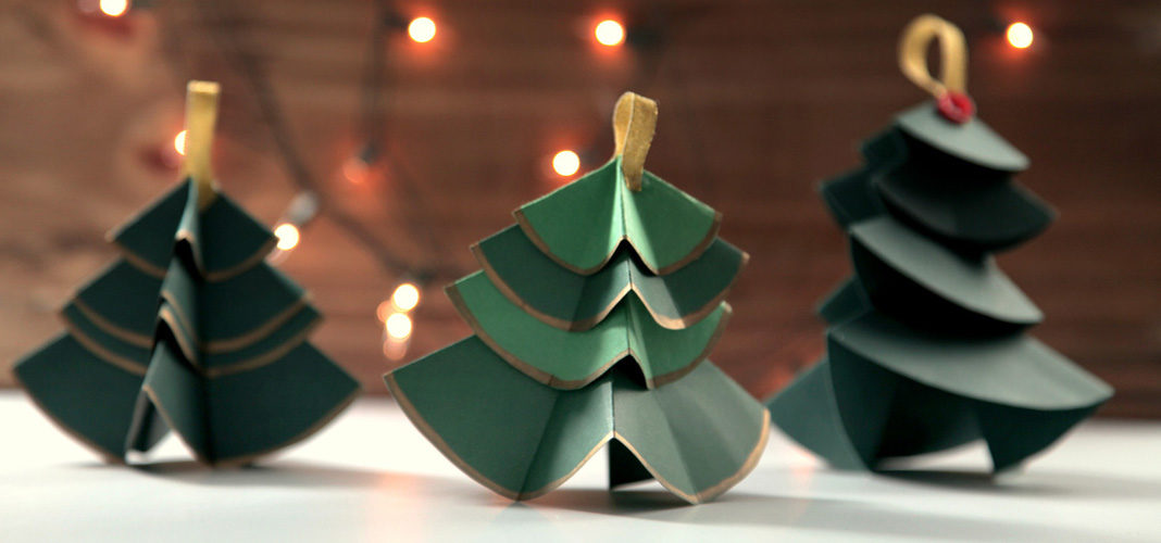 Объемные ёлки из бумаги и картона на Новый год